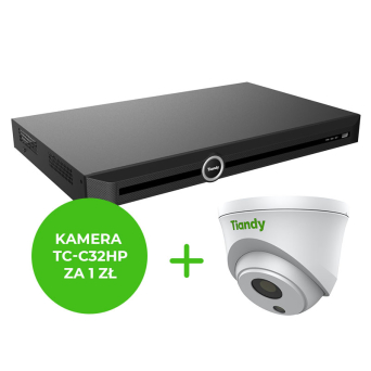 Rejestrator IP 16CH z 8 portmi PoE  + KAMERA Starlight TC-C32HP