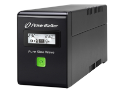 UPS POWERWALKER LINE-INTERACTIVE 600VA 2X SCHUKO 230V, PURE SINE WAVE, RJ11/45 IN/OUT, USB, LCD